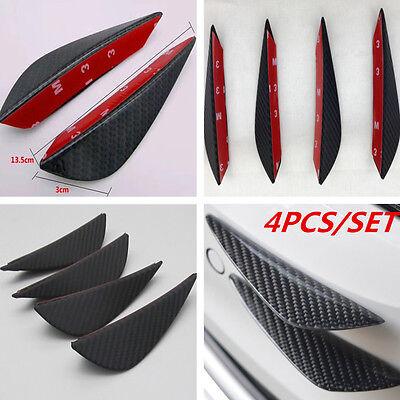 Gloss Carbon black Look Car Front Bumper Fins Lip Kits Canards Splitters Trims