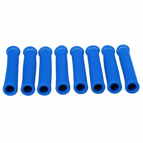 8PCS 2500° Spark Plug Wire Boots Heat Shield Protector Sleeve Cover SBC BBC Blue