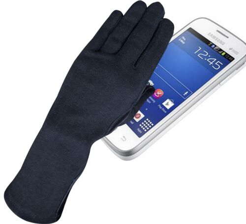 NOMEX DuPont TOUCH SCREEN LEATHER PILOT FLYERS FIRE HEAT RESISTANCE GLOVES BLACK
