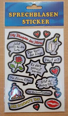 1 Bogen Fotosticker Motiv Thema Hochzeit & Liebe Fotoalbum Sticker Sprechblasen