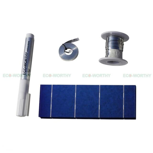 40pcs 2x6 Solar Cells Full Kit with Tab Wire Bus Wire Flux Pen DIY Solar Panel