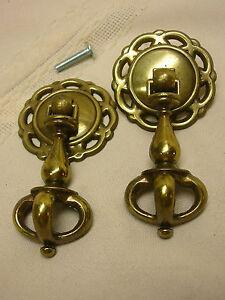 "2 Drawer Pulls Pressed Tin Backing Ornate Design 1 3/4"" X 3 3/8"" with Screws"