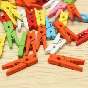 10 Stuck Bunt Gemischt Mini Holz Klammern Clip Wascheklammern Deko