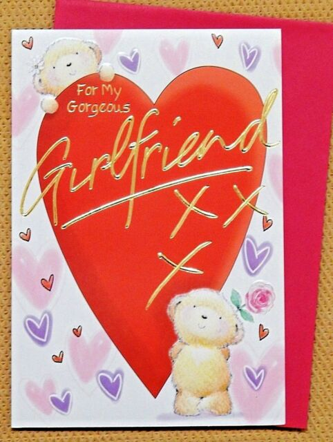 For My Girlfriend Birthday Greeting Card Hearts Theme For Sale
