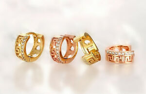 Shiny Gold Rose Gold PL Heart Love Huggie Hoop Circle Cubic ... eb62e4fdc2