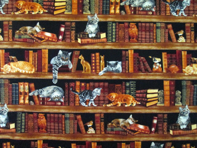 LIBRARY CATS BOOKS KITTENS PET #3449 COTTON QUILT BTY TIMELESS TREASURES FABRIC