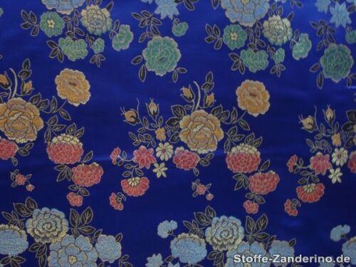 ca China Jacquard mit Blumen 90cm, royal