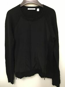 EXCELLENT-CONDITION-Trenery-Women-039-s-Black-Silk-Panel-Front-Jumper-Size-XS