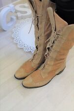 Bertie Italian Tan Supple Leather Lace up Brogue Knee High Boots EU38 UK5