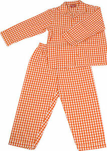 PYJAMA-SUIT-SLEEPWEAR-100-COTTON-FLAME-ORANGE-WHITE-GINGHAM-CHECKS-3-5-YRS