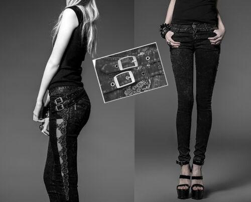 Pantalon jeans dentelle gothique punk lolita steampunk sangles fashion PunkRave