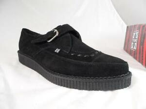 TUK BUCKLE MONK STRAP BLACK SUEDE LOW CREEPERS # A8139 UK 11 US 12 EUR 45 NOS