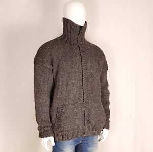 Hand knitted VERY THICK  100/% WOOL mens sweater hoodie turtleneck zipper pockets