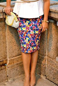 ZARA-Floral-Printed-Pencil-Midi-Skirt-Stretch-Medium-M