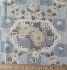 Vintage-Antique-French-Art-Deco-1926-Blue-Linen-Floral-Home-Fabric-L-30-034-X-W-23-034