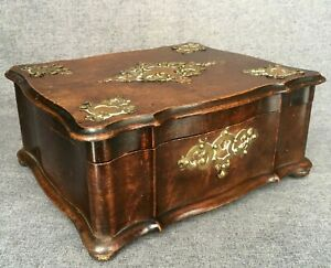 Large antique Napoleon III style box early 1900's France brass copper ornaments
