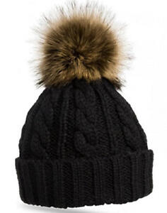 P79-New-WomenWarm-Knitted-Beanie-with-Chunky-Fur-Pom-Pom-Fleece-Inner-Lining-Hat