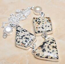 "Handmade Dalmation Jasper Gemstone 925 Sterling Silver Necklace 19"" #N00034"