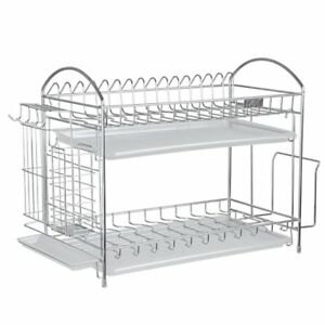 Cheap Sale 2pcs Black Iron Storage Rack Display Stand Dish Rack Plate Bowl Holder Kitchen Table Tray Rack Drip Rack Home Decoration black Bathroom Fixtures Bathroom Hardware