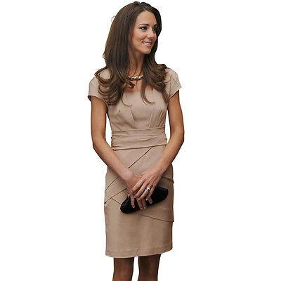 Women Retro Square Neck Pencil Dress OL Wear to Work Party Wrap Dress E689