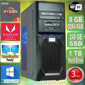 Details about AMD Ryzen 3 2200G Desktop PC~8GB DDR4~240GB SSD~1TB  HDD~Radeon 8 GPU~Win 10 Pro