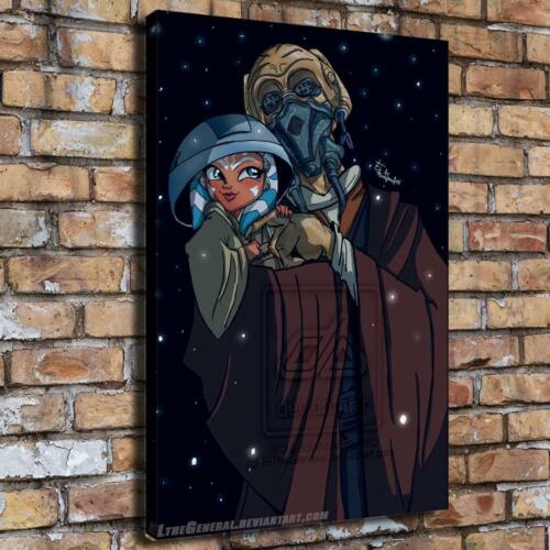 Star wars ahsoka and plo koon HD Canvas printed Home decor painting Wall poster
