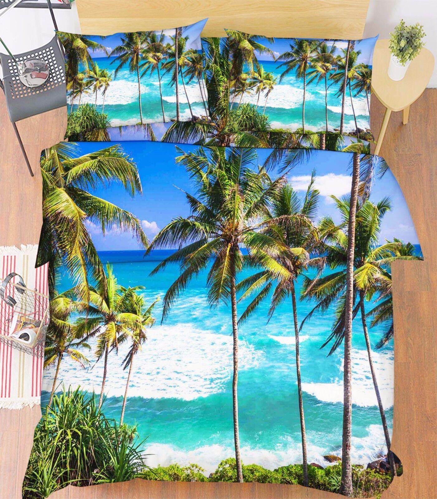 3D Sea Trees 007 Bed Pillowcases Quilt Duvet Cover Set Single Queen King Size AU