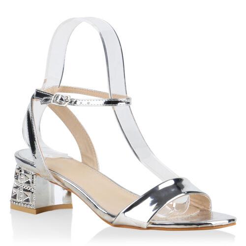 Damen Metallic Sandaletten Blockabsatz Sommerschuhe 816265 Schuhe
