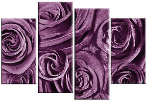 LARGE-PURPLE-ROSES-FLORAL-FLOWER-CANVAS-WALL-ART-PICTURE-SPLIT-MULTI-PANEL-100cm