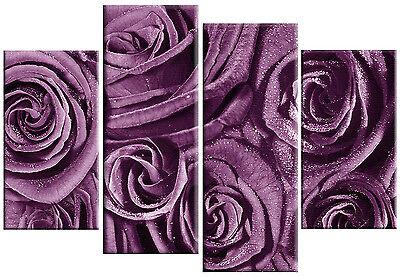 LARGE PURPLE ROSES FLORAL FLOWER CANVAS WALL ART PICTURE SPLIT MULTI PANEL 100cm