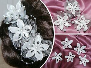 Bluten Haarnadeln Perlen Braut Tull Haare Deko Weiss Hochzeit
