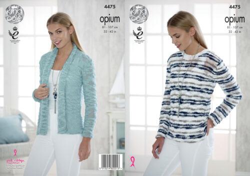 King Cole Womens Opium Knitting Pattern Ladies Cardigan /& Striped Sweater 4475