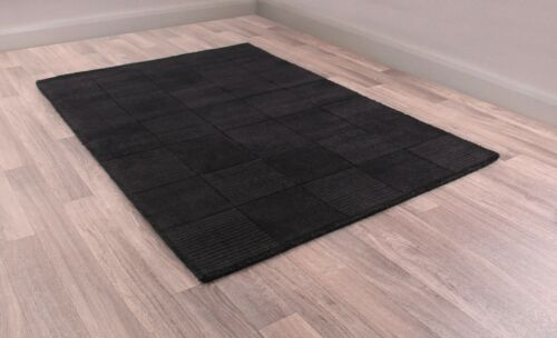 Ultimate Madison Black Luxury Ribbed Wool Rug various sizes and runner