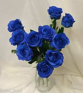 Image Is Loading 12 X LATEX REAL TOUCH BLUE ROSE ROSES