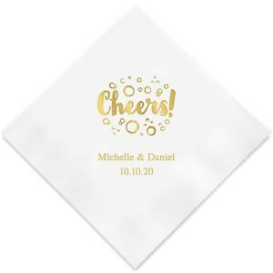 Wedding Cocktail Napkins.Details About 100 Cheers With Bubbles Personalized Wedding Cocktail Napkins