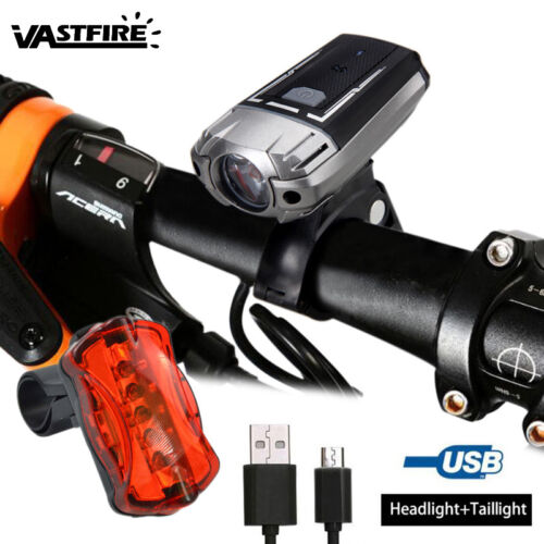 Waterproof MTB Bicycle LED Front Light USB Charging Bike Helmet Lamp Taillight