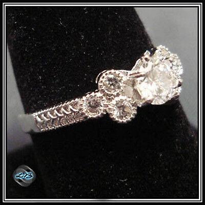 7 Stone CZ Ring Silver Platinum Rhodium CZ Size 5, 6, 7, 8, 9 NEW