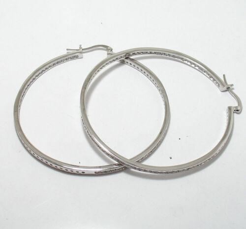 "Channel Set Inside Out Diamonique CZ Hoop Earrings REAL Sterling Silver 3/"""