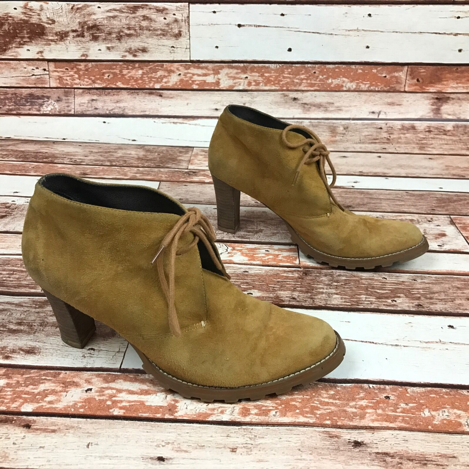 Mossimo Camel Tan Leather Suede Ankle Bootie Women's 8 1/2 High Heels Boots