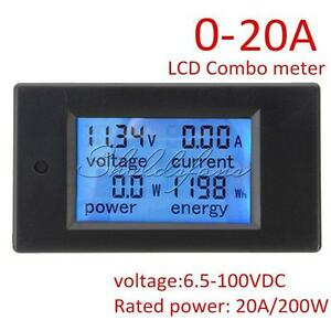 DC-Battery-6-5-100V-20A-LCD-Voltage-Current-KWh-Watt-Power-Monitor-Combo-Meter
