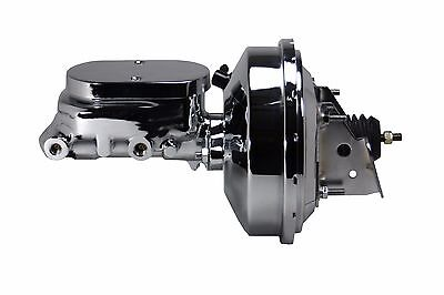"9/"" Chrome Power Brake Booster Kit 1-1//8/"" Bore Mstr Cyl AFX Drum//Drum 2FB"