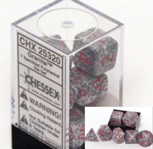 Chessex Speckled Polyhedral dice set Granite numbers 7 die set for RPG