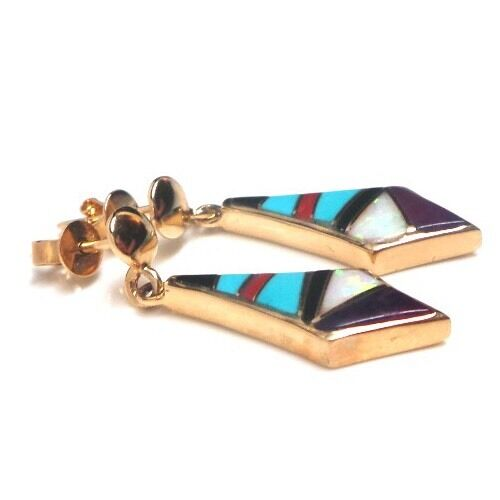 Navajo Handmade 14k Gold Multi Color Inlay Post Earrings S.K