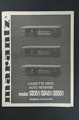 Beschouwend Marantz Model Sd351/sd451/sd551 Bedienungsanleitung/user Manual Top-zust.!