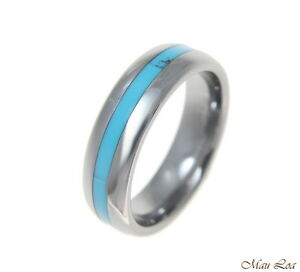 Tungsten-6mm-Wedding-Band-Ring-Unisex-Blue-Turquoise-Inlay-Comfort-Fit-Size-5-13