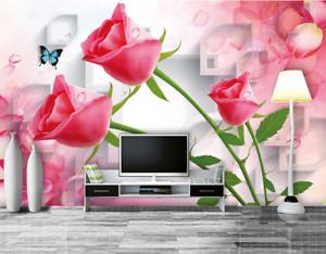 3D Bouquet pink 468 Wallpaper Murals Wall Print Wallpaper Mural AJ WALL UK Lemon
