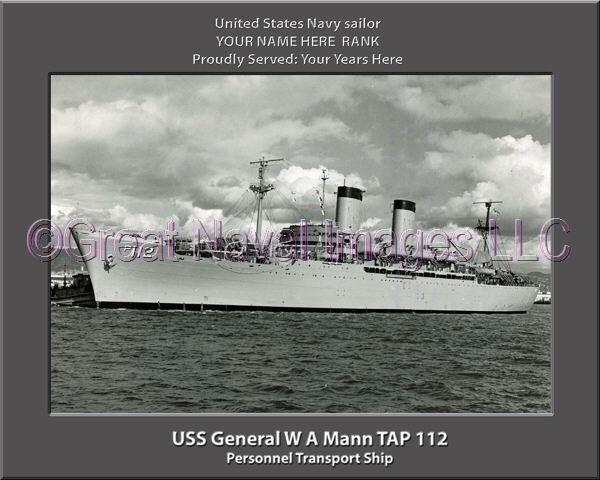 USS General W A Mann TAP 112 Personalized Canvas Ship Photo Print Navy Veteran