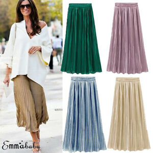 Ladies-Womens-Long-Midi-Pleated-Skirt-Elastic-Waist-Double-Layer-Chiffon-Dresses