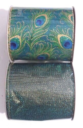 """Peacock and Coordinating Wired Ribbon 4/"""" x 15/' Each Roll New"""