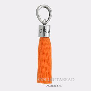 Authentic-Pandora-Silver-Orange-Fabric-Tassel-Dangle-Charm-797212COE
